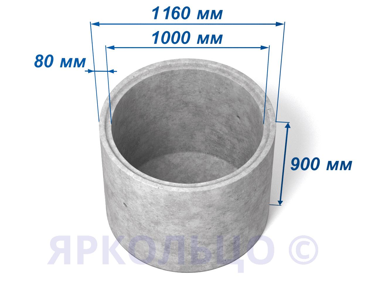 Кольцо стеновое КСД 10-9 (с дном)